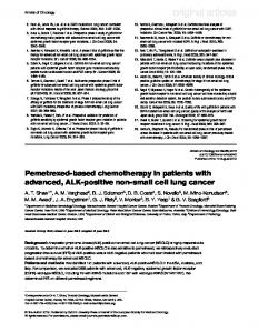 Pemetrexed-based chemotherapy in patients with advanced, ALK ...