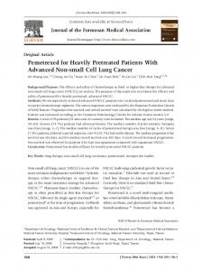 Pemetrexed for Heavily Pretreated Patients With Advanced Non-small ...