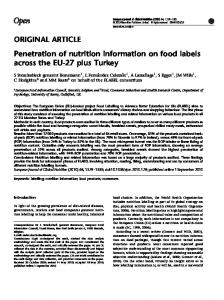 Penetration of nutrition information on food labels across ... - CiteSeerX