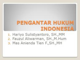 PENGANTAR HUKUM INDONESIA - E-Learning