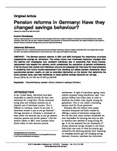 Pension reforms in Germany: Have they changed savings behaviour ...