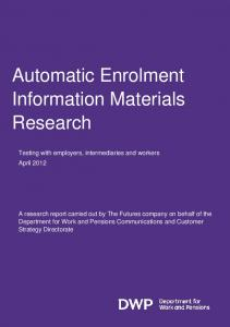 Pensions automatic enrolment information materials research