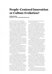 People-Centered Innovation or Culture Evolution? - Putting people first