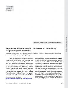 People Matter: Recent Sociological Contributions to Understanding