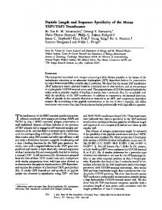 Peptide Length and Sequence Specifidty of the Mouse ... - Europe PMC