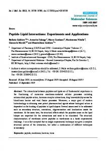 Peptide-Lipid Interactions: Experiments and ... - BioMedSearch