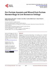Per-Partum Anaemia and Missed Post-Partum Haemorrhage in Low