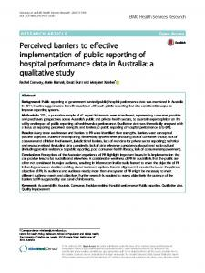 Perceived barriers to effective implementation of