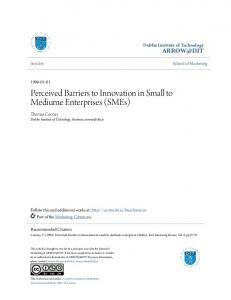 Perceived Barriers to Innovation in Small to Mediume ... - Arrow@DIT