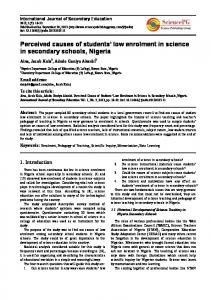 Perceived causes of students' low enrolment in science in secondary