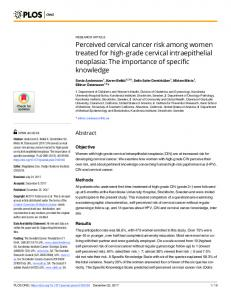 Perceived cervical cancer risk among women ... - Semantic Scholar