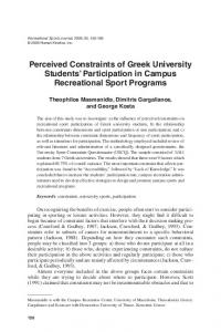 Perceived Constraints of Greek University Students ... - CiteSeerX