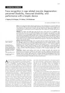 perceived disability, measured disability, and performance with a bioptic