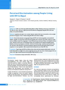 Perceived Discrimination among People Living with HIV in Nepal
