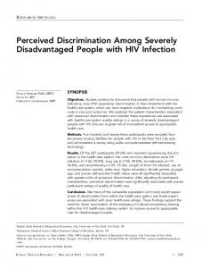 Perceived Discrimination Among Severely Disadvantaged People with ...