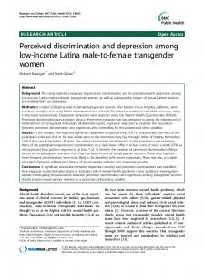 Perceived discrimination and depression among low ... - BioMed Central