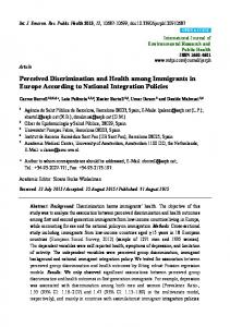 Perceived Discrimination and Health among Immigrants in ... - CiteSeerX