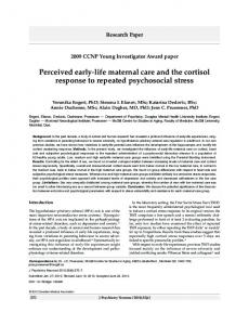 Perceived early-life maternal care and the cortisol response to ...