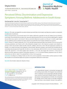 Perceived Ethnic Discrimination and Depressive Symptoms Among ...