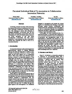 Perceived Individual Risk of Co-innovation in Collaborative ... - Core