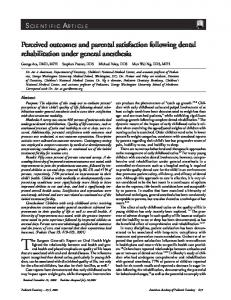 Perceived outcomes and parental satisfaction following dental ...