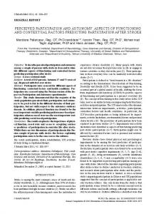 PERCEIVED PARTICIPATIoN AND AuToNoMY - Medicaljournals.se