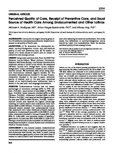 Perceived Quality of Care, Receipt of Preventive Care, and Usual ...