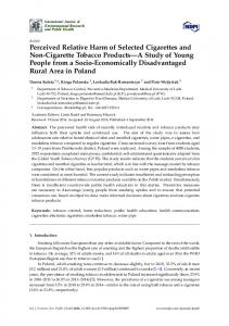Perceived Relative Harm of Selected Cigarettes and Non ... - MDPI
