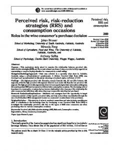 Perceived risk, risk-reduction strategies (RRS) and