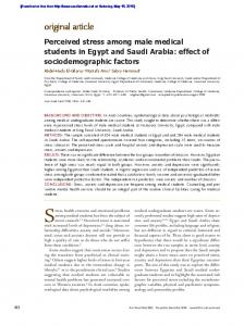Perceived stress among male medical students in
