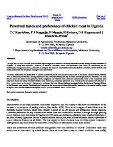 Perceived tastes and preferences of chicken meat in