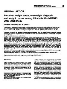Perceived weight status, overweight diagnosis, and weight ... - Nature
