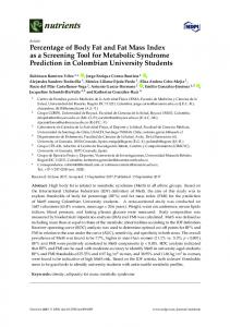 Percentage of Body Fat and Fat Mass Index as a Screening ... - MDPI