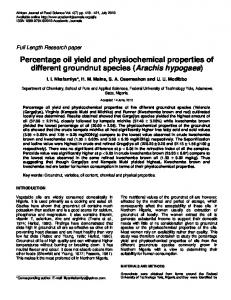 Percentage oil yield and physiochemical ... - Academic Journals