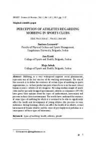 perception of athletes regarding mobbing in sports clubs