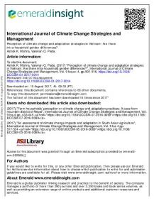 Perception of climate change and adaptation ...