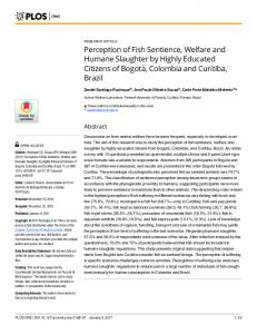 Perception of Fish Sentience, Welfare and Humane Slaughter ... - PLOS