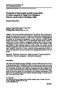 Perception of local people towards conservation of forest resources in ...