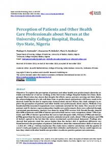 Perception of Patients and Other Health Care Professionals about ...