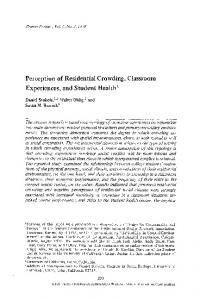 Perception of residential crowding, classroom ... - Springer Link