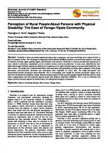 Perception of Rural People About Persons with Physical Disability