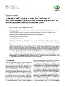 Perceptions and Experiences about Self-Disclosure of HIV Status ...