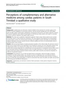 Perceptions of complementary and alternative medicine among ...