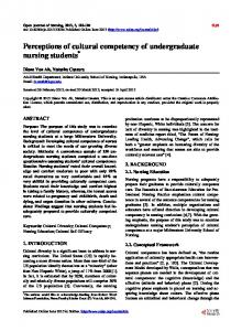 Perceptions of cultural competency of undergraduate nursing students