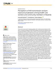 Perceptions of HIV transmission and pre-exposure prophylaxis ... - PLOS