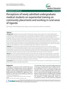 Perceptions of newly admitted undergraduate