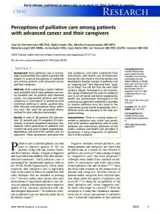Perceptions of palliative care among patients with advanced cancer ...