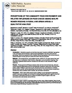 PERCEPTIONS OF THE COMMUNITY FOOD ENVIRONMENT AND ...