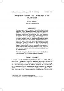 Perceptions on Halal Food Certification in Hat Yai, Thailand - faculty of ...