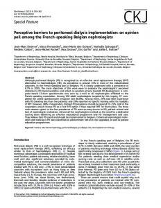Perceptive barriers to peritoneal dialysis
